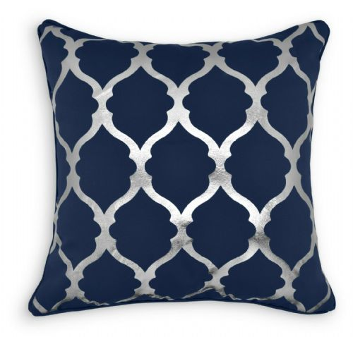 Geometric Lattice Metallic Silver Foil Print Design Filled Scatter Cushion 43x43cm Navy